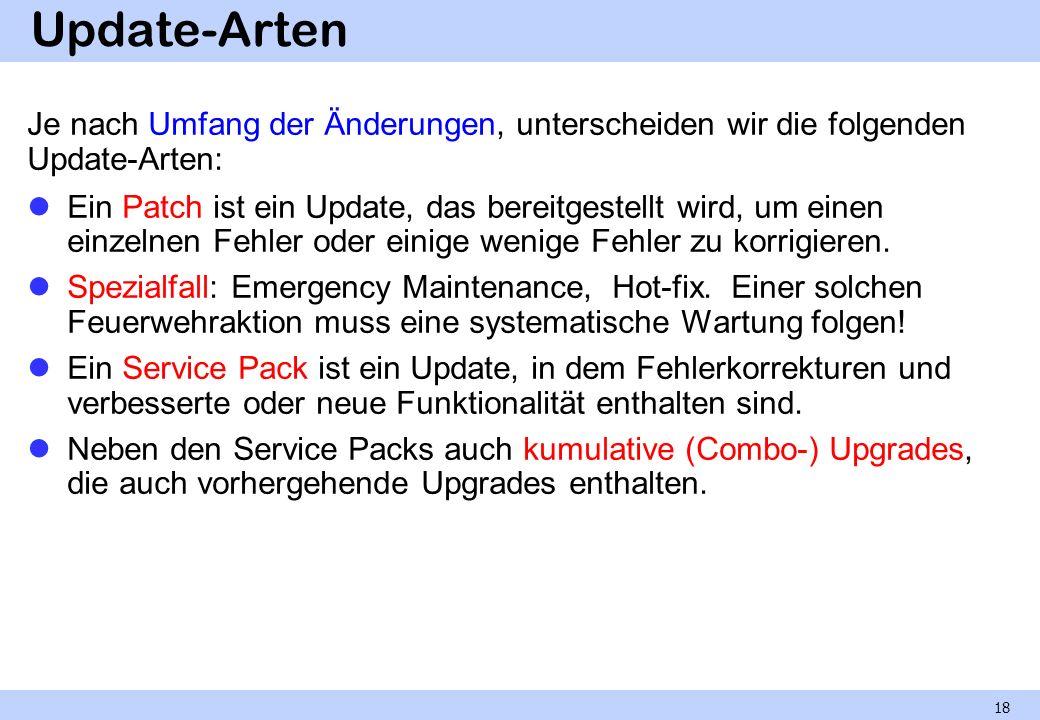 Update-Arten Je nach Umfang der Änderungen, unterscheiden wir die folgenden Update-Arten: Ein Patch ist ein Update, das bereitgestellt wird, um einen
