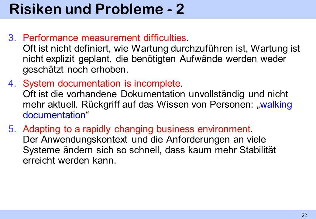 Risiken und Probleme - 2 3.Performance measurement difficulties. Oft ist nicht definiert, wie Wartung durchzuführen ist, Wartung ist nicht explizit ge