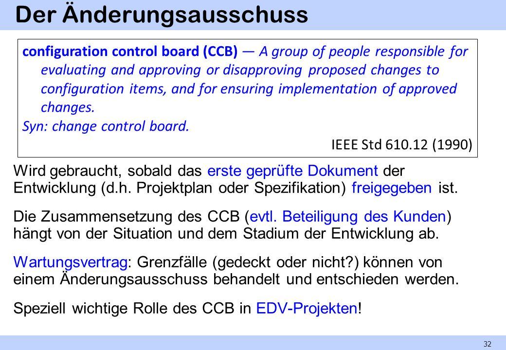 Der Änderungsausschuss Wird gebraucht, sobald das erste geprüfte Dokument der Entwicklung (d.h. Projektplan oder Spezifikation) freigegeben ist. Die Z