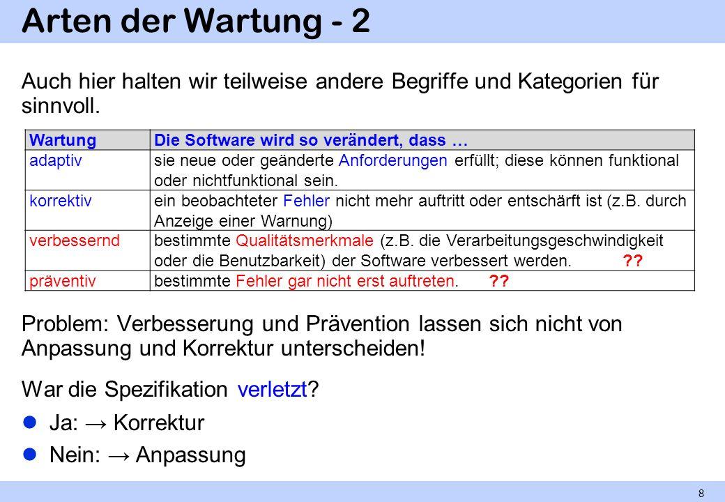 Arten der Wartung - 2 Auch hier halten wir teilweise andere Begriffe und Kategorien für sinnvoll. Problem: Verbesserung und Prävention lassen sich nic