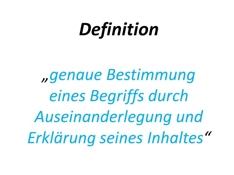 Definition genaue Bestimmung eines Begriffs durch Auseinanderlegung und Erklärung seines Inhaltes