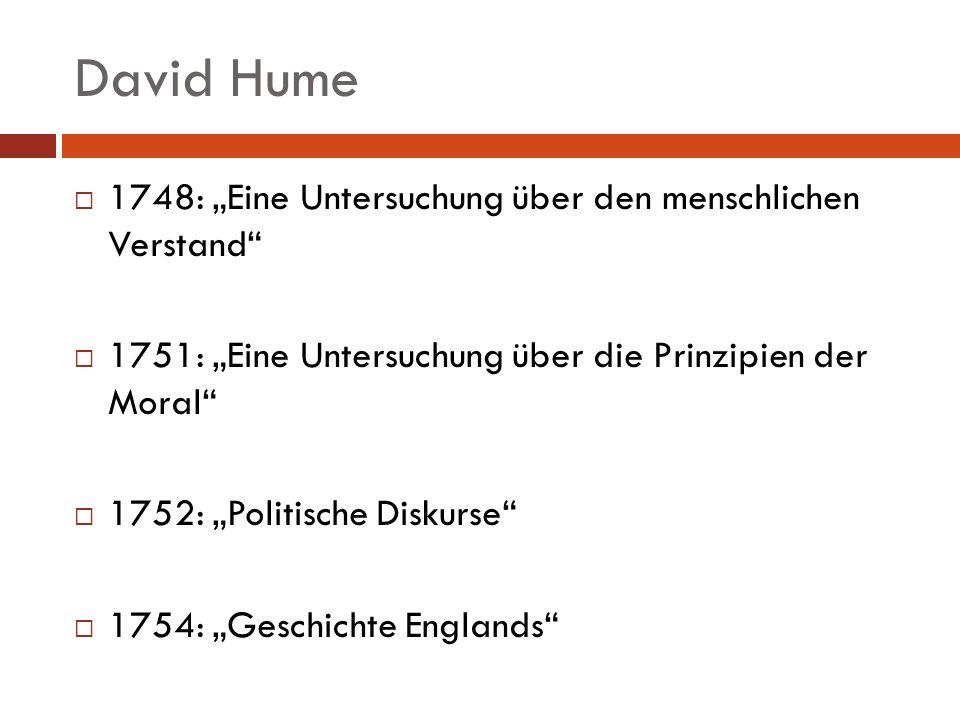 David Hume 1748: Eine Untersuchung über den menschlichen Verstand 1751: Eine Untersuchung über die Prinzipien der Moral 1752: Politische Diskurse 1754