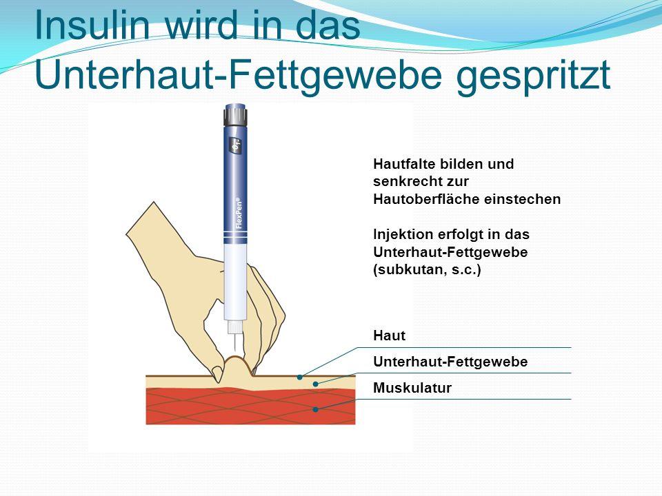 Insulin wird in das Unterhaut-Fettgewebe gespritzt Haut Unterhaut-Fettgewebe Muskulatur Hautfalte bilden und senkrecht zur Hautoberfläche einstechen I
