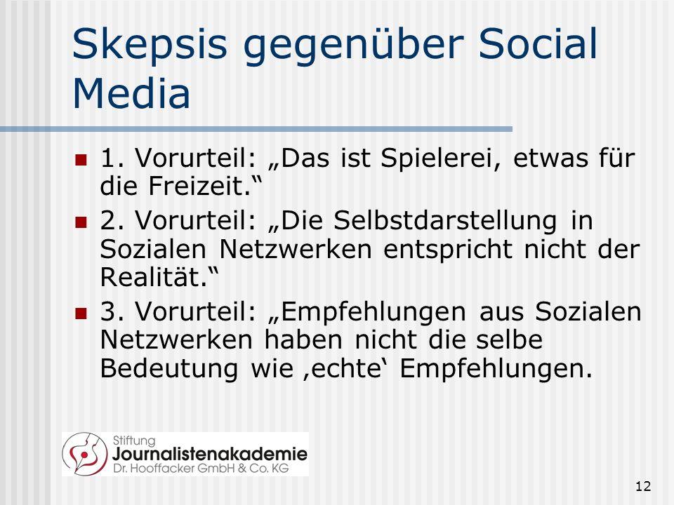 12 Skepsis gegenüber Social Media 1.Vorurteil: Das ist Spielerei, etwas für die Freizeit.