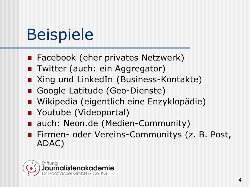 4 Beispiele Facebook (eher privates Netzwerk) Twitter (auch: ein Aggregator) Xing und LinkedIn (Business-Kontakte) Google Latitude (Geo-Dienste) Wikipedia (eigentlich eine Enzyklopädie) Youtube (Videoportal) auch: Neon.de (Medien-Community) Firmen- oder Vereins-Communitys (z.