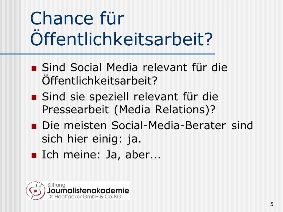 5 Chance für Öffentlichkeitsarbeit.Sind Social Media relevant für die Öffentlichkeitsarbeit.