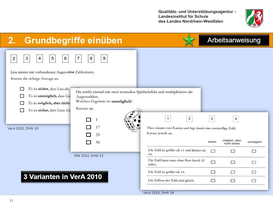 11 2.Grundbegriffe einüben Arbeitsanweisung VerA 2010, DHW 10 VerA 2010, DHW 16 VRA 2010, DHW 13 3 Varianten in VerA 2010