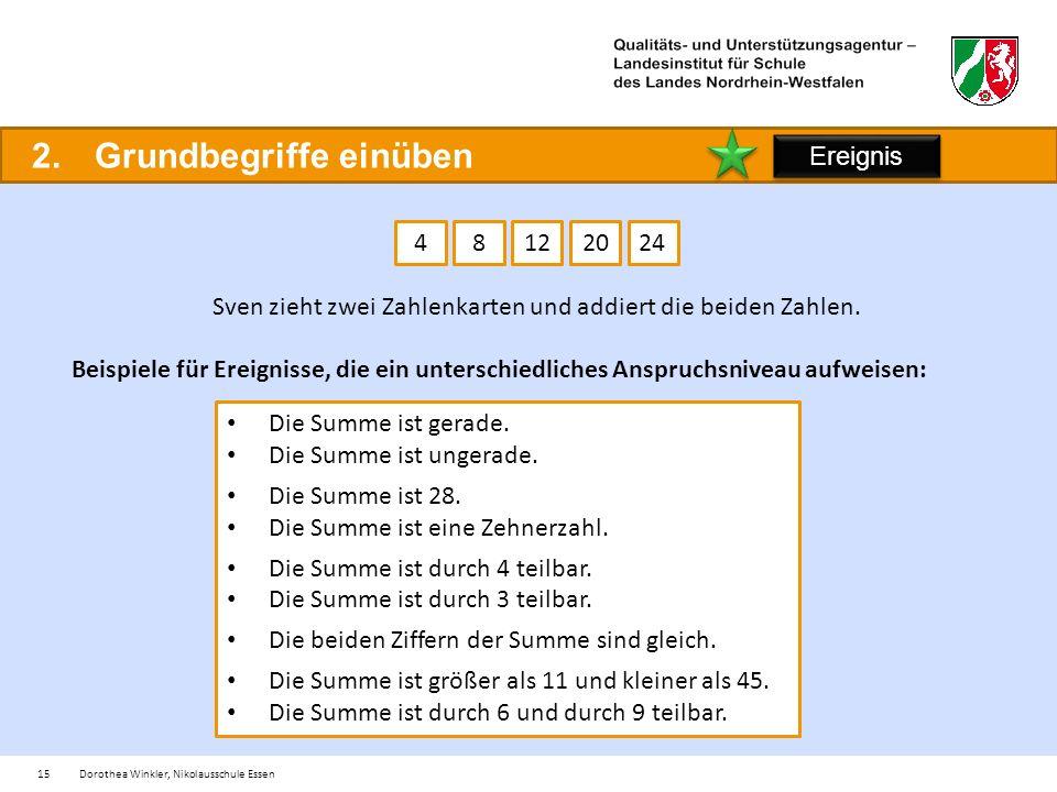15Dorothea Winkler, Nikolausschule Essen 2.Grundbegriffe einüben 12482024 Sven zieht zwei Zahlenkarten und addiert die beiden Zahlen.