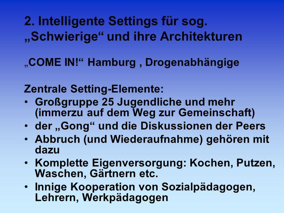 2. Intelligente Settings für sog. Schwierige und ihre Architekturen COME IN! Hamburg, Drogenabhängige Zentrale Setting-Elemente: Großgruppe 25 Jugendl