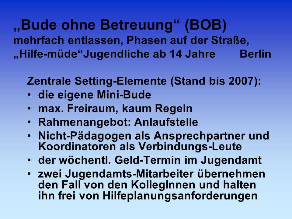 Bude ohne Betreuung (BOB) mehrfach entlassen, Phasen auf der Straße, Hilfe-müdeJugendliche ab 14 Jahre Berlin Zentrale Setting-Elemente (Stand bis 200