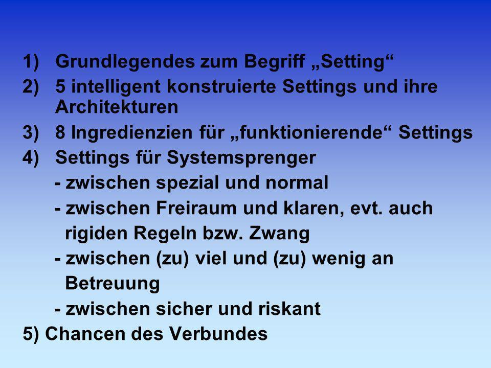 1)Grundlegendes zum Begriff Setting 2)5 intelligent konstruierte Settings und ihre Architekturen 3)8 Ingredienzien für funktionierende Settings 4)Sett