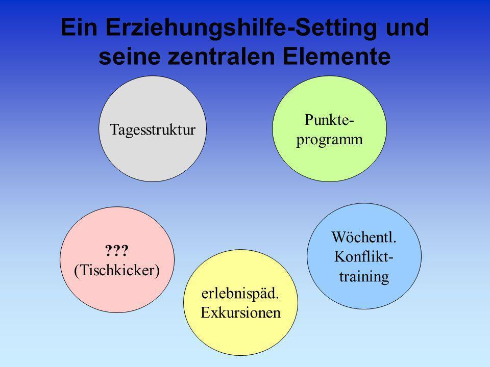 Ein Erziehungshilfe-Setting und seine zentralen Elemente ??? (Tischkicker) erlebnispäd. Exkursionen Wöchentl. Konflikt- training Tagesstruktur Punkte-
