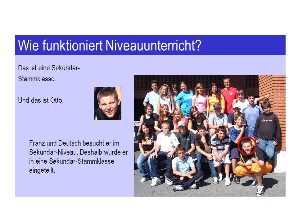 Wie funktioniert Niveauunterricht? Das ist eine Sekundar- Stammklasse. Und das ist Otto. Franz und Deutsch besucht er im Sekundar-Niveau. Deshalb wurd