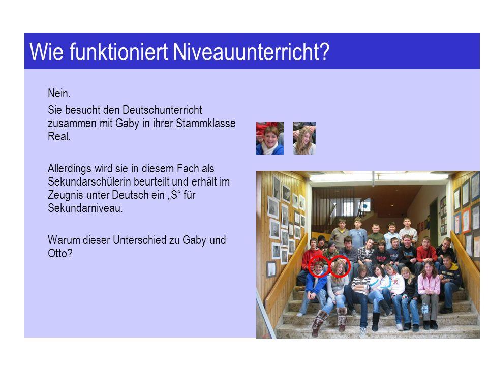 Wie funktioniert Niveauunterricht? Nein. Sie besucht den Deutschunterricht zusammen mit Gaby in ihrer Stammklasse Real. Allerdings wird sie in diesem