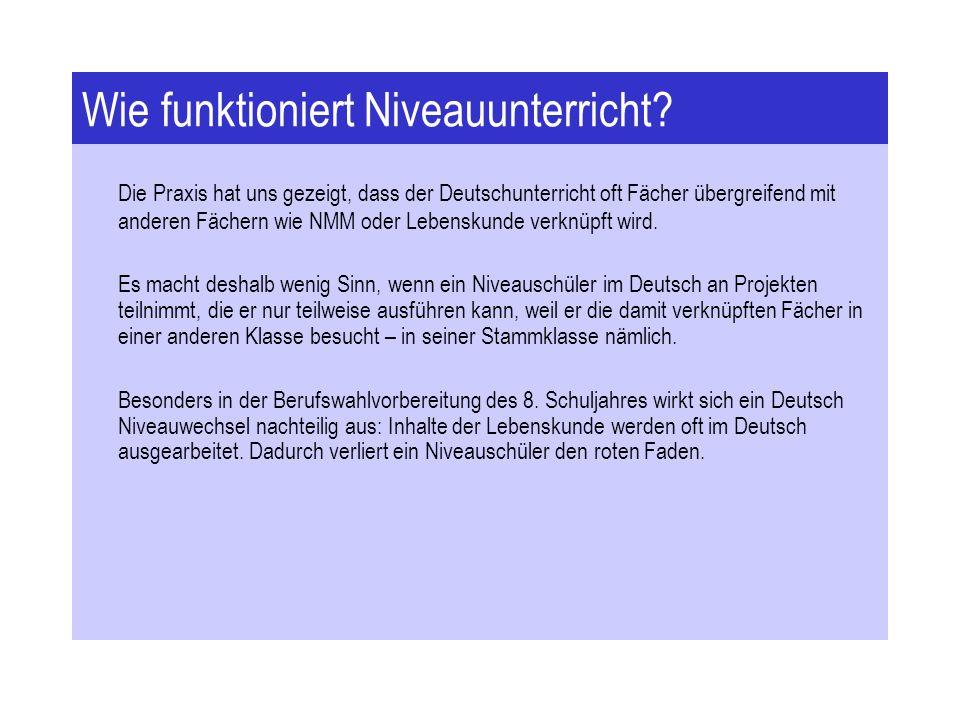 Wie funktioniert Niveauunterricht? Die Praxis hat uns gezeigt, dass der Deutschunterricht oft Fächer übergreifend mit anderen Fächern wie NMM oder Leb