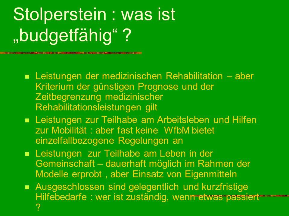 Stolperstein : was ist budgetfähig ? Leistungen der medizinischen Rehabilitation – aber Kriterium der günstigen Prognose und der Zeitbegrenzung medizi