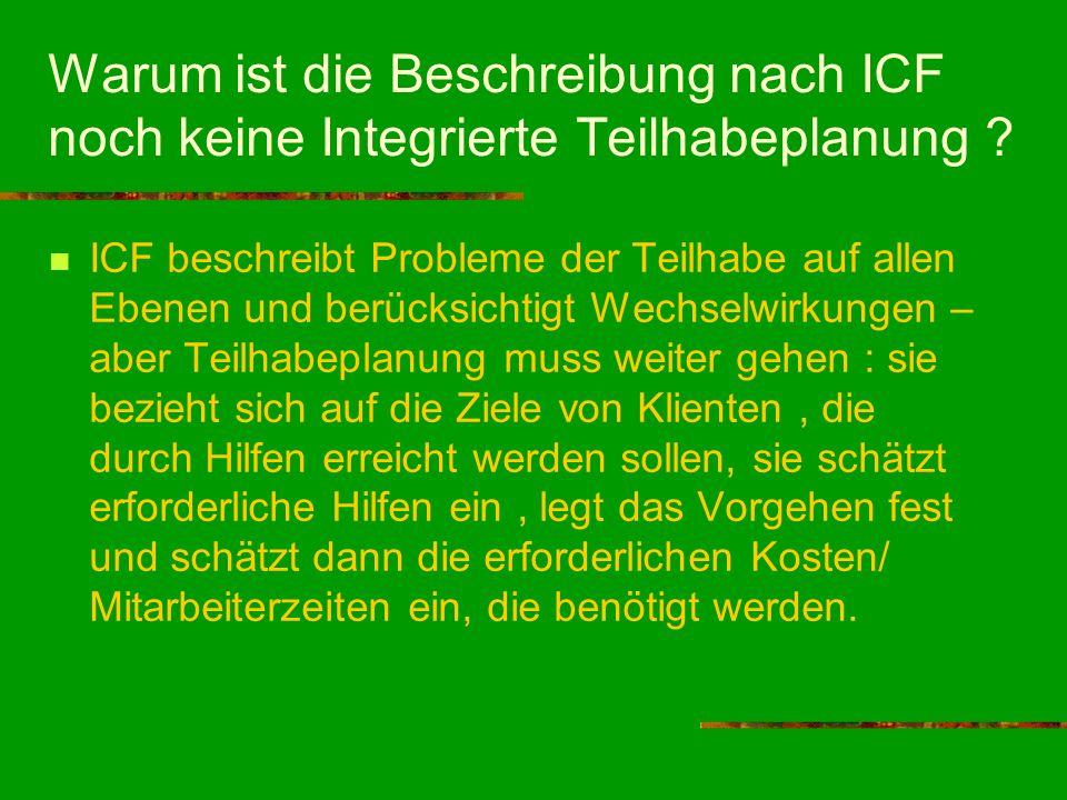 Warum ist die Beschreibung nach ICF noch keine Integrierte Teilhabeplanung ? ICF beschreibt Probleme der Teilhabe auf allen Ebenen und berücksichtigt