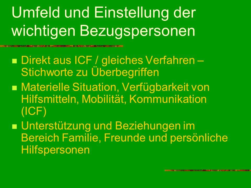 Umfeld und Einstellung der wichtigen Bezugspersonen Direkt aus ICF / gleiches Verfahren – Stichworte zu Überbegriffen Materielle Situation, Verfügbark