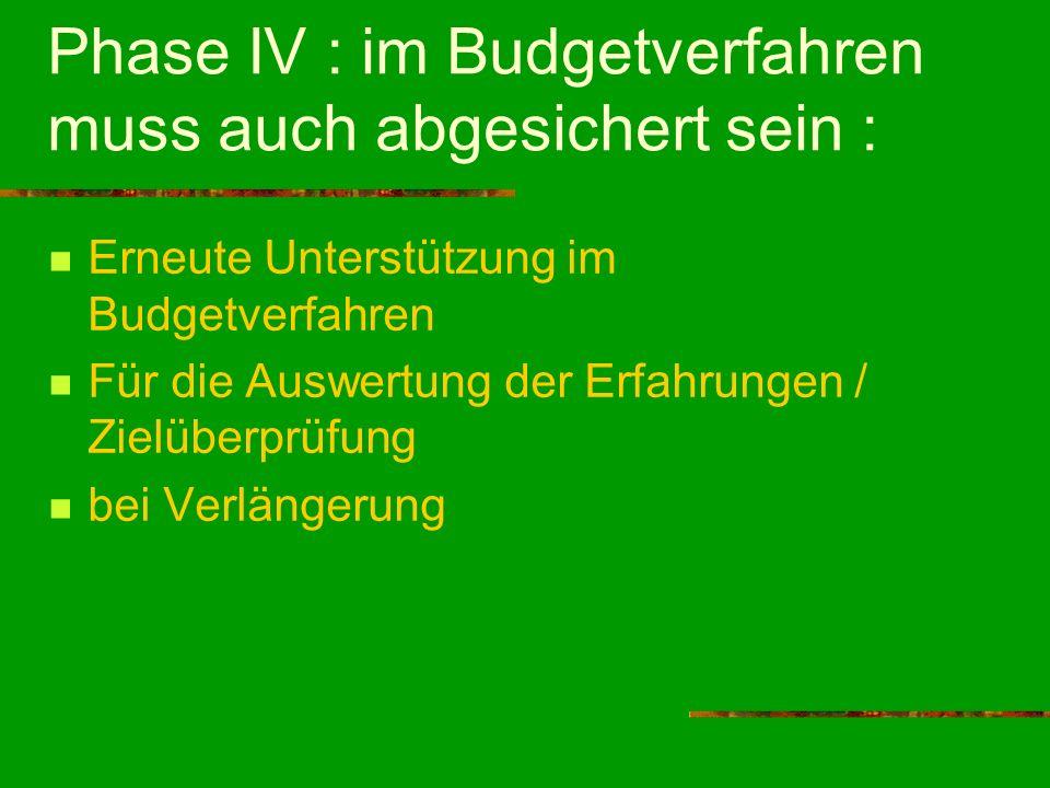 Phase IV : im Budgetverfahren muss auch abgesichert sein : Erneute Unterstützung im Budgetverfahren Für die Auswertung der Erfahrungen / Zielüberprüfu