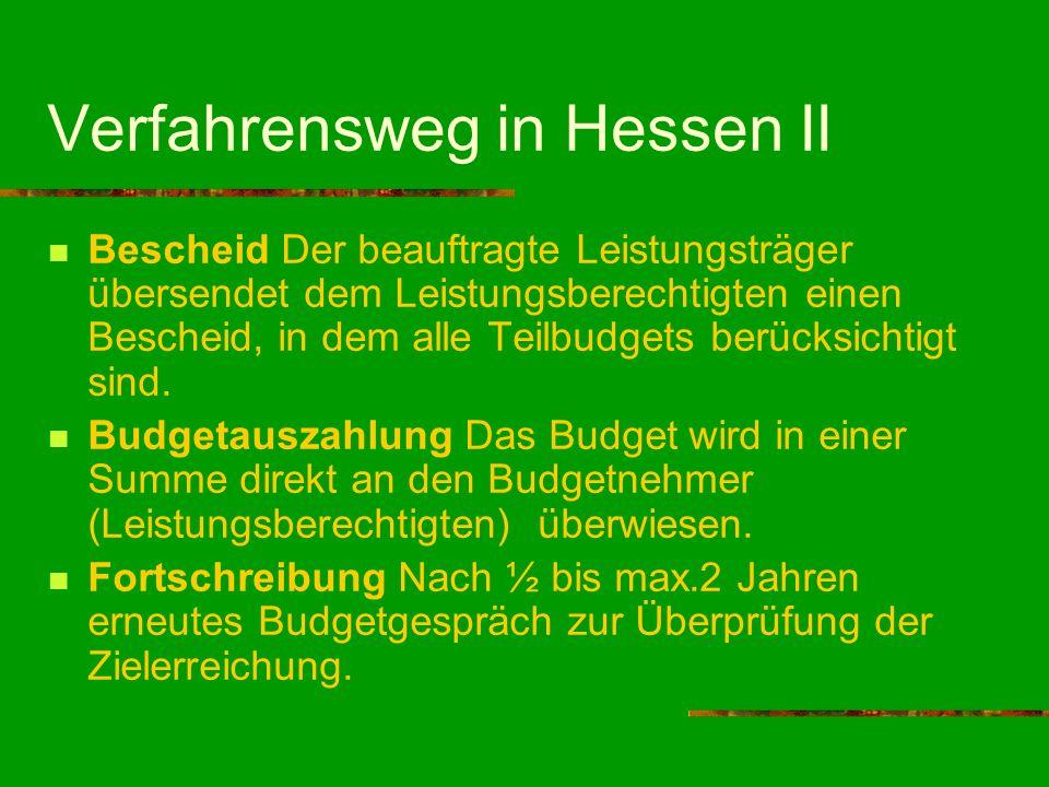 Verfahrensweg in Hessen II Bescheid Der beauftragte Leistungsträger übersendet dem Leistungsberechtigten einen Bescheid, in dem alle Teilbudgets berüc