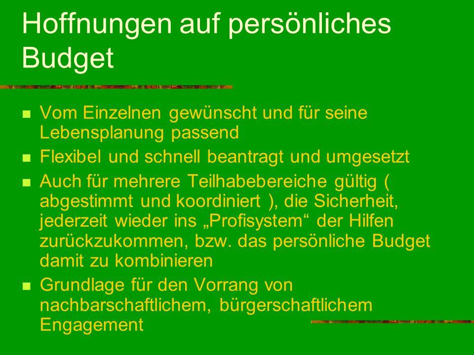 Hoffnungen auf persönliches Budget Vom Einzelnen gewünscht und für seine Lebensplanung passend Flexibel und schnell beantragt und umgesetzt Auch für m