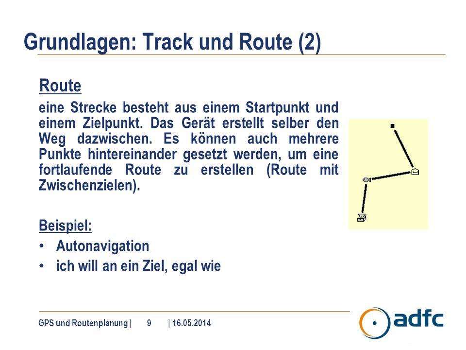 Grundlagen: Track und Route (2) Route eine Strecke besteht aus einem Startpunkt und einem Zielpunkt. Das Gerät erstellt selber den Weg dazwischen. Es