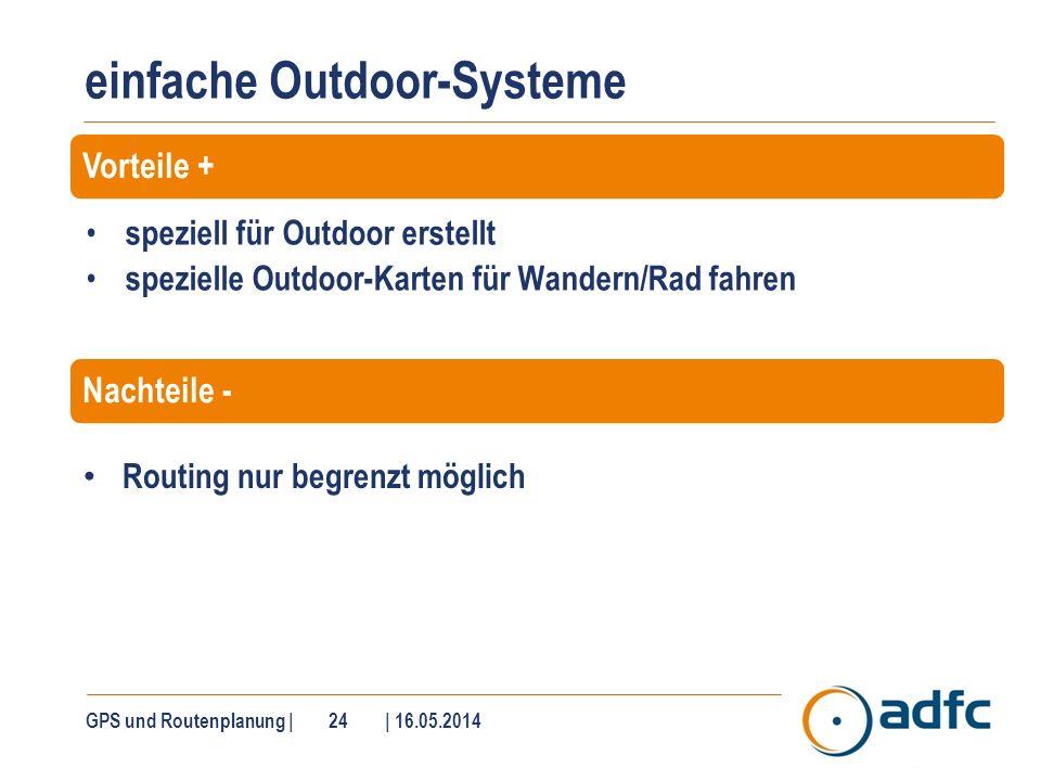 einfache Outdoor-Systeme speziell für Outdoor erstellt spezielle Outdoor-Karten für Wandern/Rad fahren GPS und Routenplanung | 24 | 16.05.2014 Routing