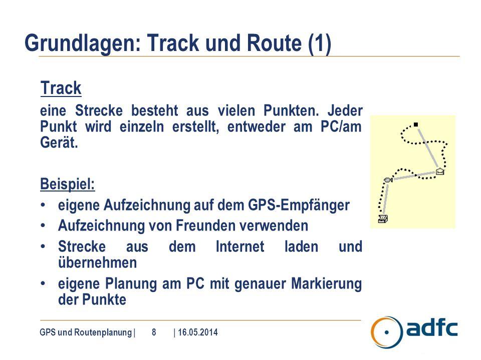 Grundlagen: Track und Route (1) Track eine Strecke besteht aus vielen Punkten. Jeder Punkt wird einzeln erstellt, entweder am PC/am Gerät. Beispiel: e