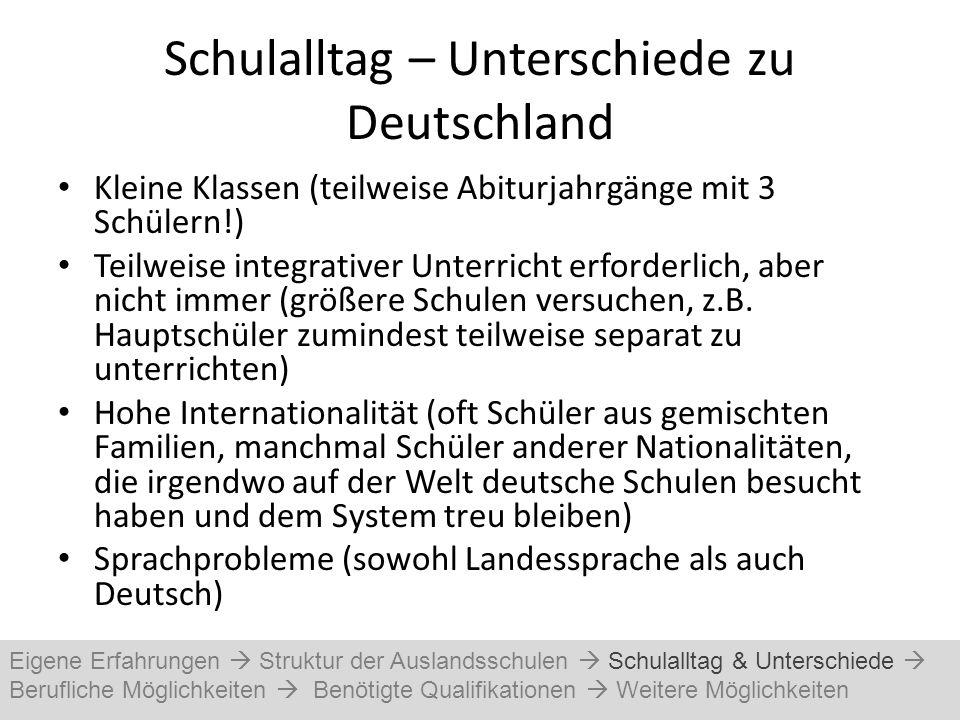 Schulalltag – Unterschiede zu Deutschland Kleine Klassen (teilweise Abiturjahrgänge mit 3 Schülern!) Teilweise integrativer Unterricht erforderlich, a