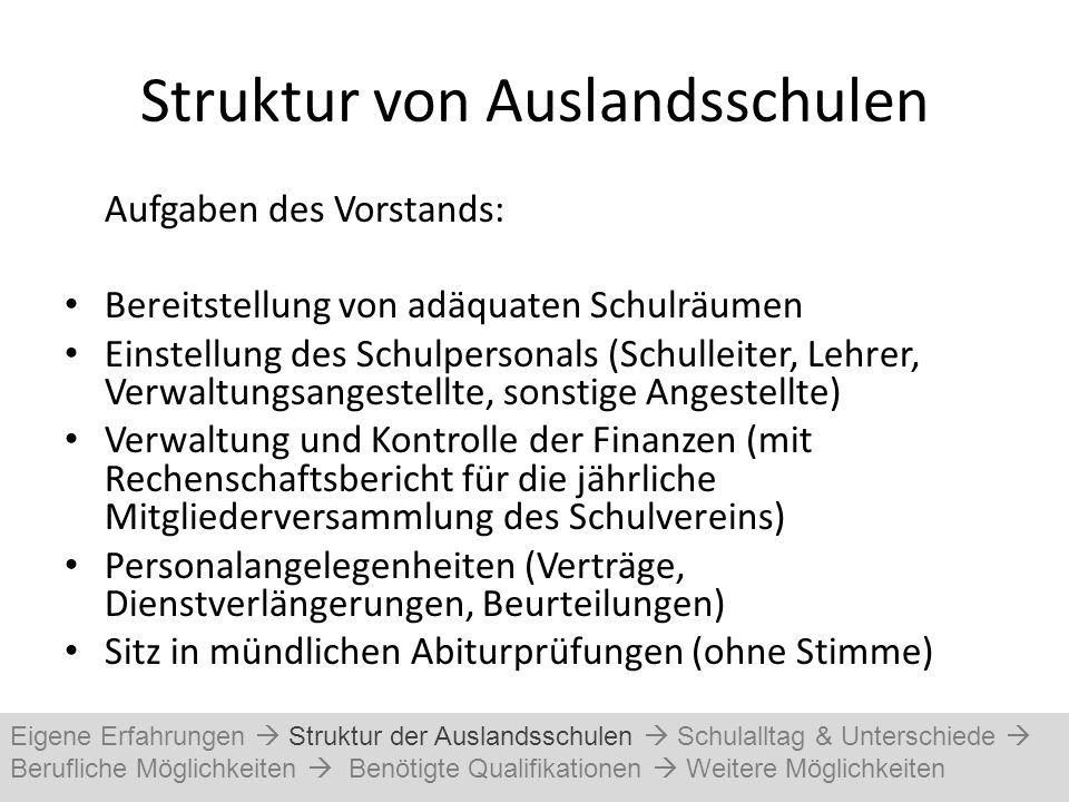 Struktur von Auslandsschulen Aufgaben des Vorstands: Bereitstellung von adäquaten Schulräumen Einstellung des Schulpersonals (Schulleiter, Lehrer, Ver