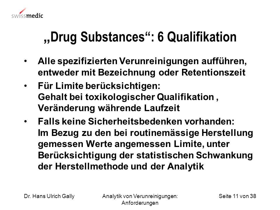 Seite 11 von 38Dr. Hans Ulrich GallyAnalytik von Verunreinigungen: Anforderungen Drug Substances: 6 Qualifikation Alle spezifizierten Verunreinigungen
