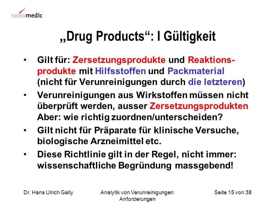 Seite 15 von 38Dr. Hans Ulrich GallyAnalytik von Verunreinigungen: Anforderungen Drug Products: I Gültigkeit Gilt für: Zersetzungsprodukte und Reaktio