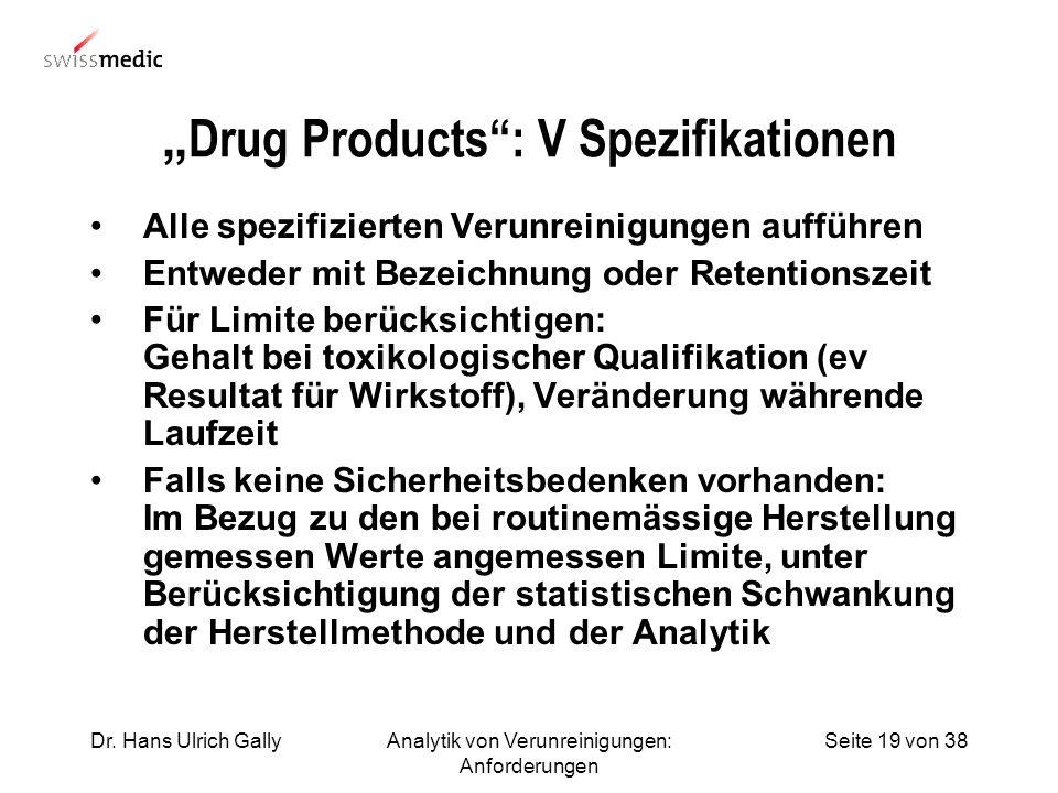 Seite 19 von 38Dr. Hans Ulrich GallyAnalytik von Verunreinigungen: Anforderungen Drug Products: V Spezifikationen Alle spezifizierten Verunreinigungen