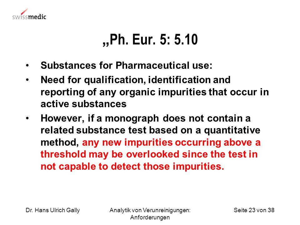 Seite 23 von 38Dr. Hans Ulrich GallyAnalytik von Verunreinigungen: Anforderungen Ph. Eur. 5: 5.10 Substances for Pharmaceutical use: Need for qualific