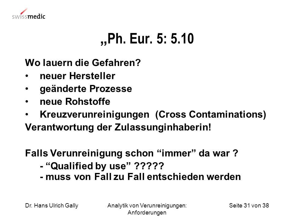Seite 31 von 38Dr. Hans Ulrich GallyAnalytik von Verunreinigungen: Anforderungen Ph. Eur. 5: 5.10 Wo lauern die Gefahren? neuer Hersteller geänderte P