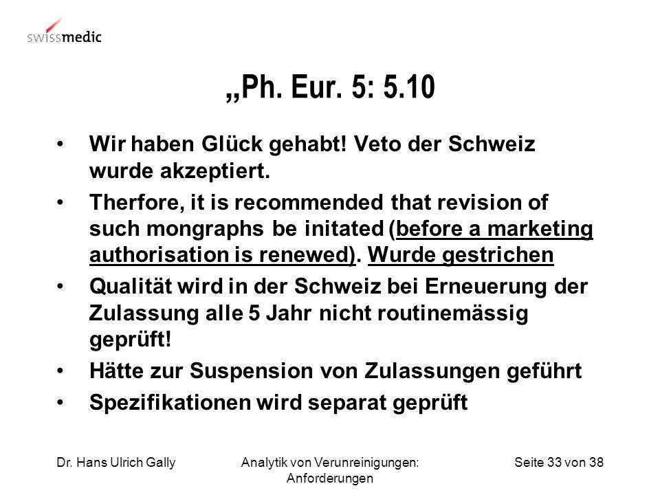 Seite 33 von 38Dr. Hans Ulrich GallyAnalytik von Verunreinigungen: Anforderungen Ph. Eur. 5: 5.10 Wir haben Glück gehabt! Veto der Schweiz wurde akzep