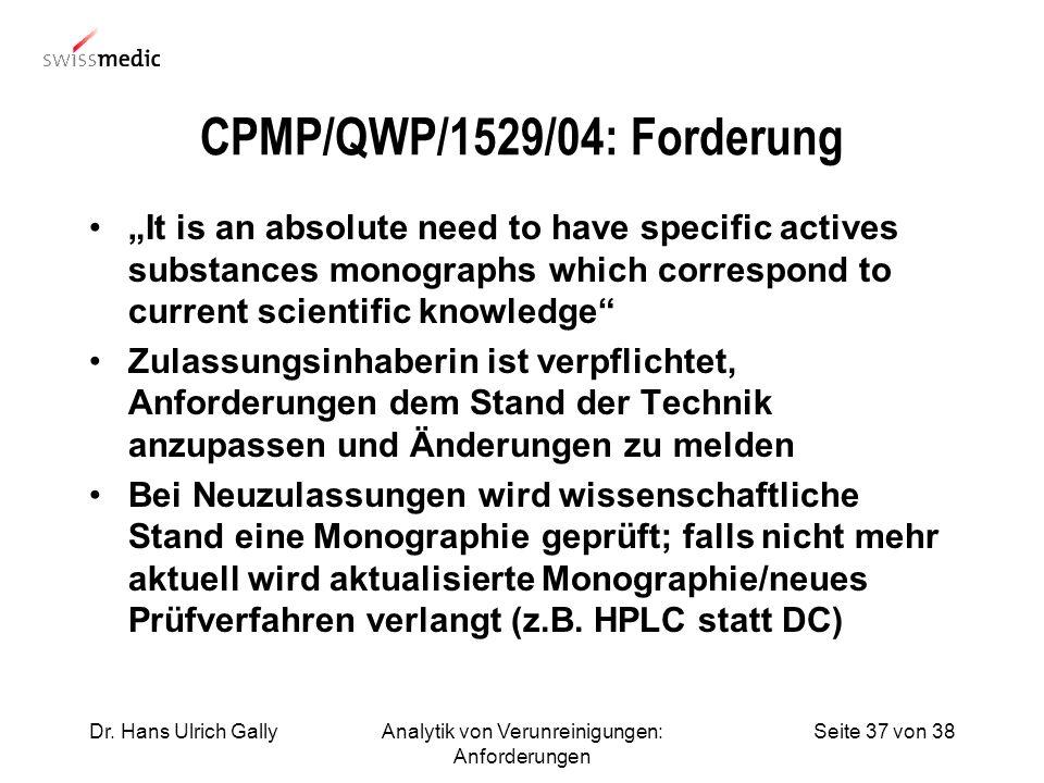 Seite 37 von 38Dr. Hans Ulrich GallyAnalytik von Verunreinigungen: Anforderungen CPMP/QWP/1529/04: Forderung It is an absolute need to have specific a
