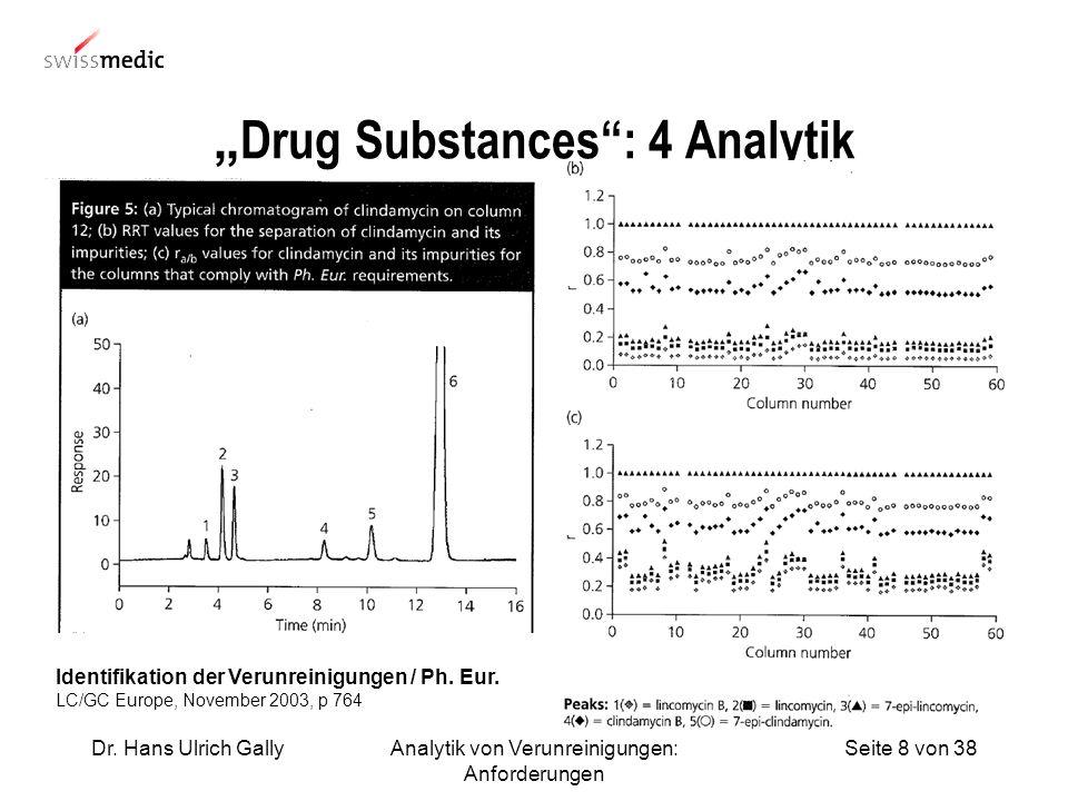 Seite 8 von 38Dr. Hans Ulrich GallyAnalytik von Verunreinigungen: Anforderungen Drug Substances: 4 Analytik Identifikation der Verunreinigungen / Ph.