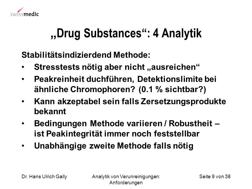 Seite 9 von 38Dr. Hans Ulrich GallyAnalytik von Verunreinigungen: Anforderungen Drug Substances: 4 Analytik Stabilitätsindizierdend Methode: Stresstes