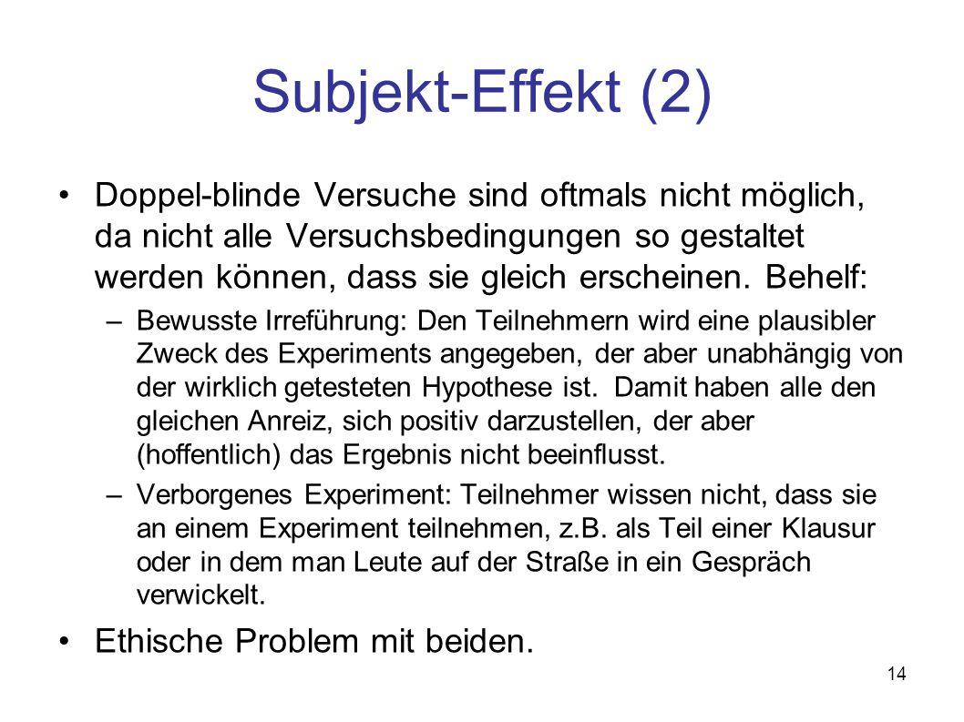 14 Subjekt-Effekt (2) Doppel-blinde Versuche sind oftmals nicht möglich, da nicht alle Versuchsbedingungen so gestaltet werden können, dass sie gleich erscheinen.