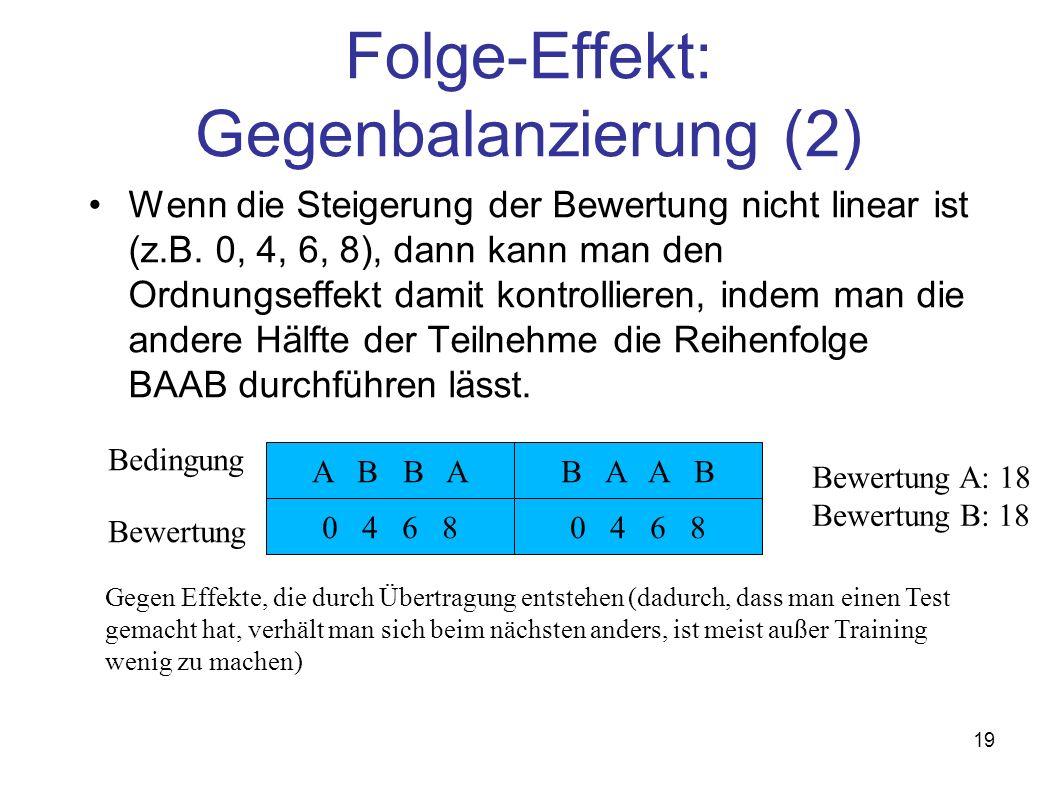 19 Folge-Effekt: Gegenbalanzierung (2) Wenn die Steigerung der Bewertung nicht linear ist (z.B. 0, 4, 6, 8), dann kann man den Ordnungseffekt damit ko