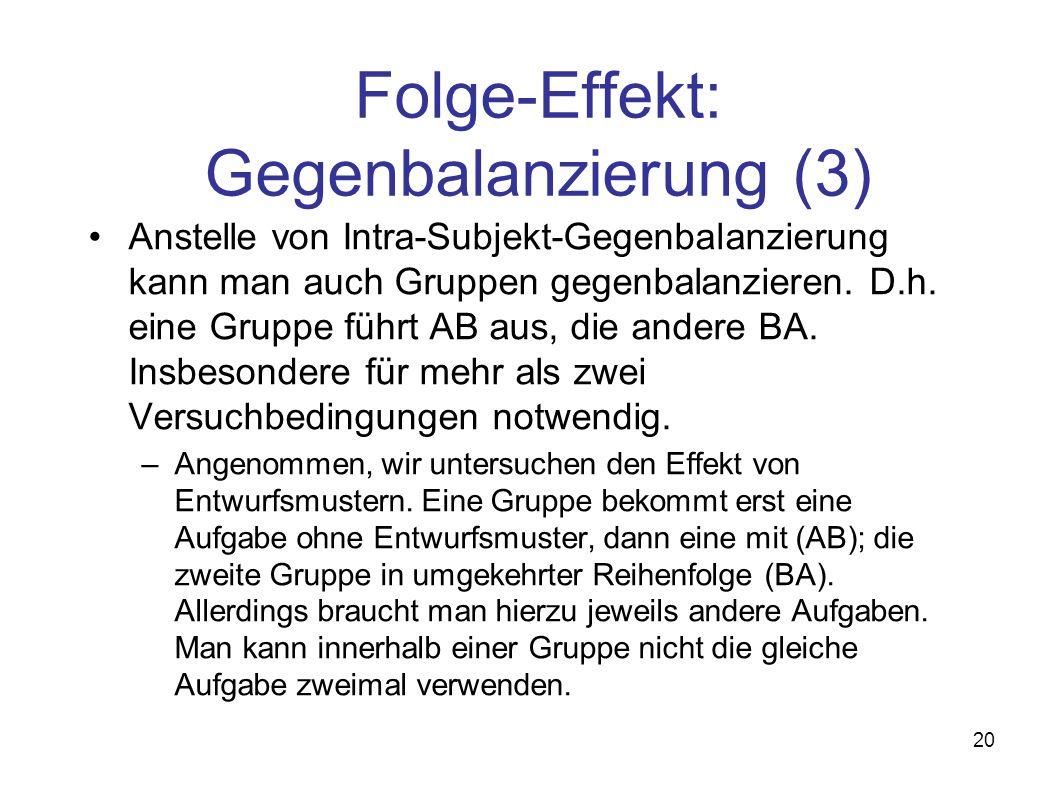 20 Folge-Effekt: Gegenbalanzierung (3) Anstelle von Intra-Subjekt-Gegenbalanzierung kann man auch Gruppen gegenbalanzieren. D.h. eine Gruppe führt AB