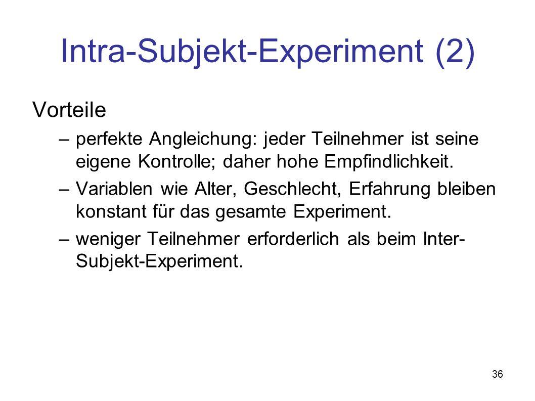 36 Intra-Subjekt-Experiment (2) Vorteile –perfekte Angleichung: jeder Teilnehmer ist seine eigene Kontrolle; daher hohe Empfindlichkeit.