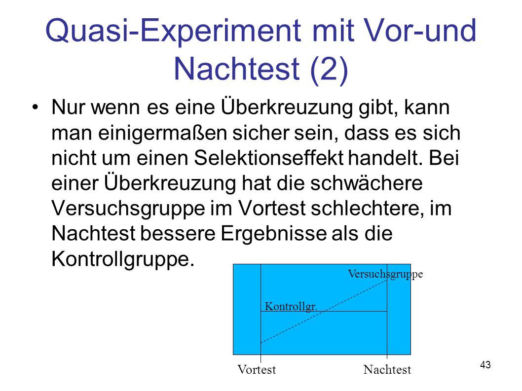 43 Quasi-Experiment mit Vor-und Nachtest (2) Nur wenn es eine Überkreuzung gibt, kann man einigermaßen sicher sein, dass es sich nicht um einen Selektionseffekt handelt.