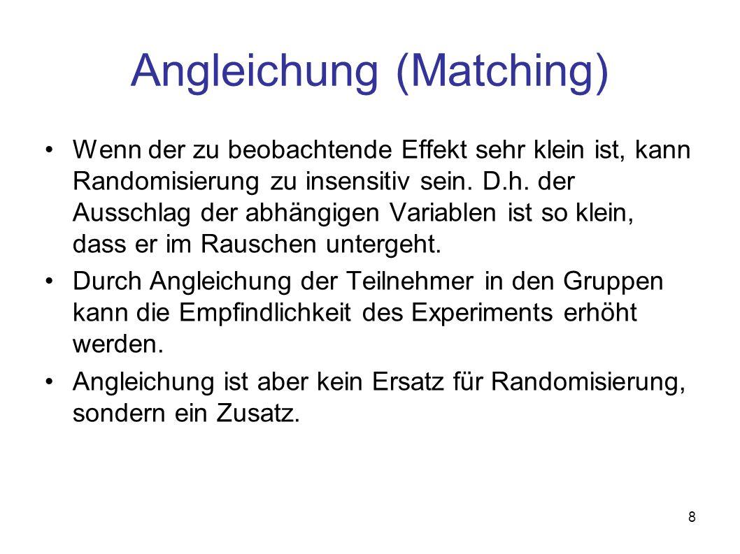 8 Angleichung (Matching) Wenn der zu beobachtende Effekt sehr klein ist, kann Randomisierung zu insensitiv sein. D.h. der Ausschlag der abhängigen Var