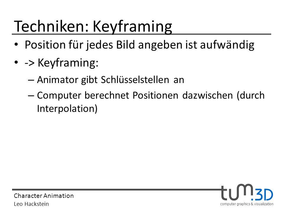 computer graphics & visualization Character Animation Leo Hackstein Techniken: Keyframing Position für jedes Bild angeben ist aufwändig -> Keyframing: