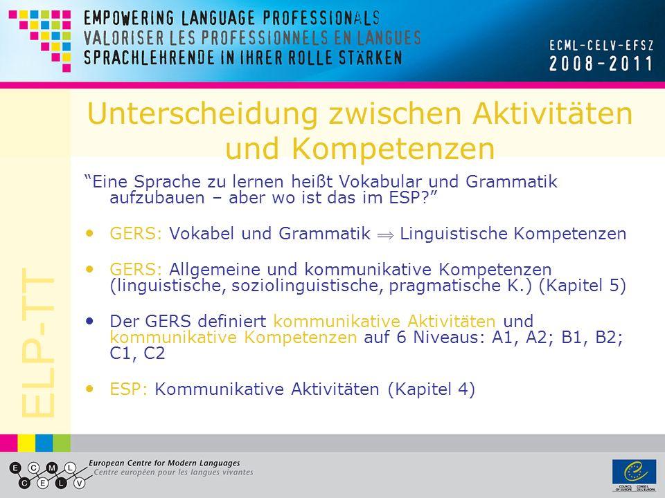 ELP-TT Kommunikative Aktivitäten beschreiben in Form von « Kann-Beschreibungen », was man in einer Sprache tatsächlich TUN kann siehe GERS Kapitel 4 Beispiel: Schriftliche Produktion, allgemein
