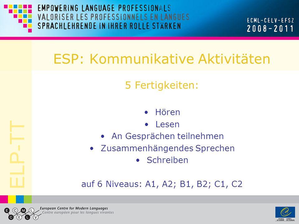 ELP-TT ESP: Kommunikative Aktivitäten 5 Fertigkeiten: Hören Lesen An Gesprächen teilnehmen Zusammenhängendes Sprechen Schreiben auf 6 Niveaus: A1, A2; B1, B2; C1, C2