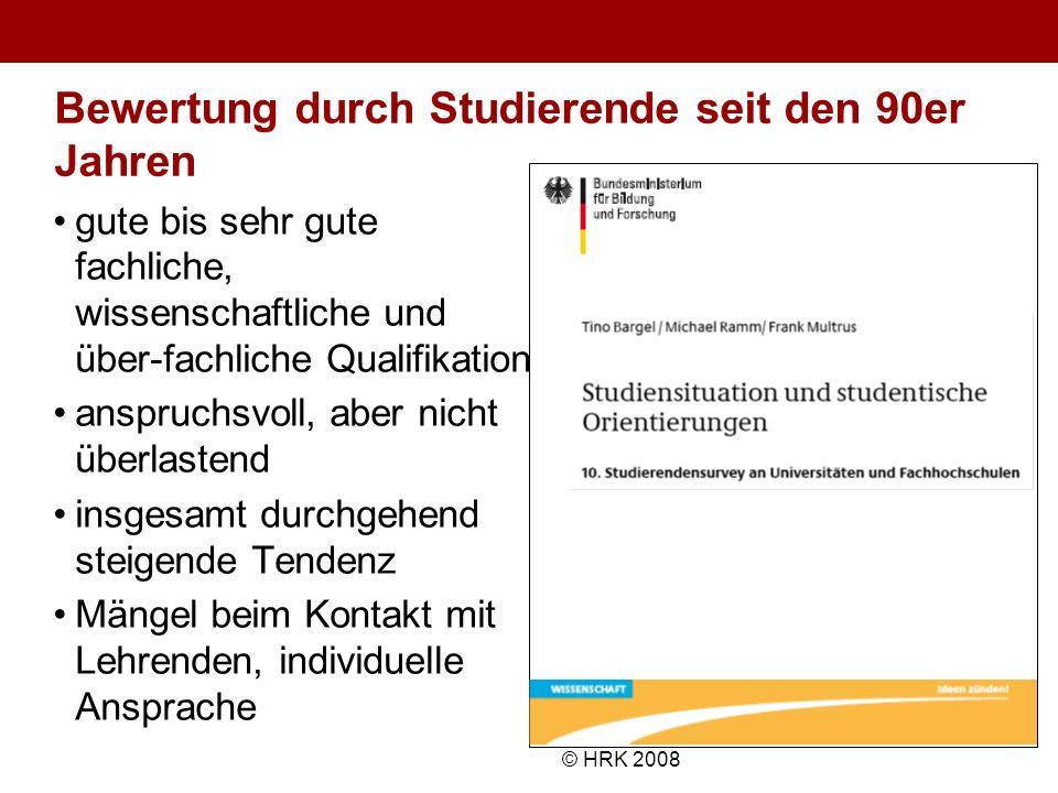 Name des Autors© HRK 2008 Bewertung durch Studierende seit den 90er Jahren gute bis sehr gute fachliche, wissenschaftliche und über-fachliche Qualifik
