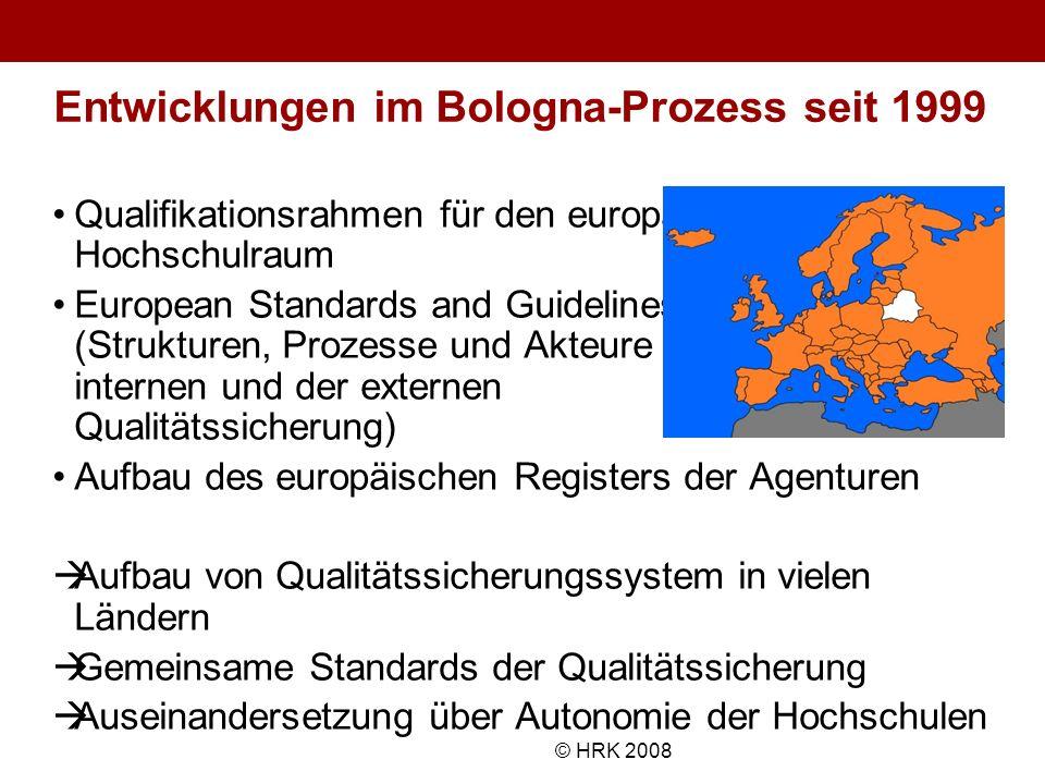 Name des Autors© HRK 2008 Entwicklungen im Bologna-Prozess seit 1999 Qualifikationsrahmen für den europäischen Hochschulraum European Standards and Gu